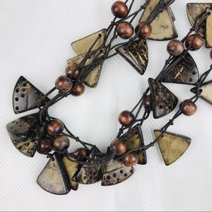 Bohemian Natural Wood 3 in 1 Necklace